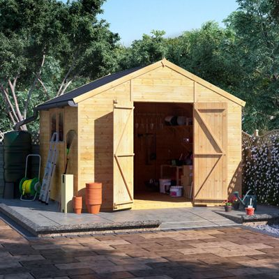 10x10 Tongue and Groove Wooden Workshop Garden Shed Double Door Windowed Apex Premium Roof Floor Felt - 10ftx10ft