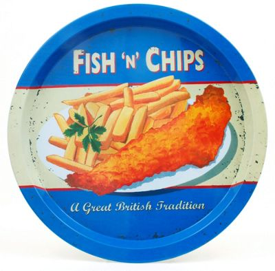Martin Wiscombe Fish 'n' Chips Design 32cm Round Tin Tray