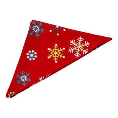 Homescapes Christmas Red Snowflake Cotton Fabric 4 Napkins Set