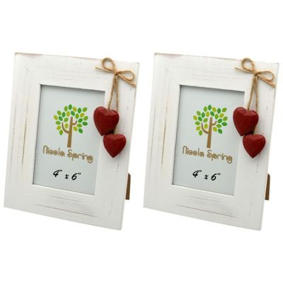 Nicola Spring White Wooden Photo Picture Frame With Red Hearts - 4 x 6
