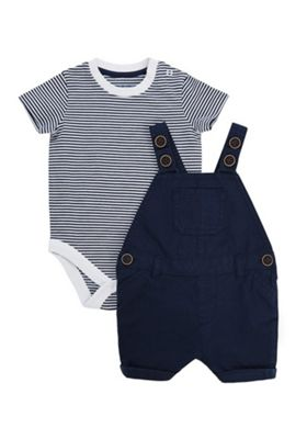 F&F Striped Bodysuit and Dungaree Set Navy 6-9 months