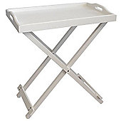 White Foldable Serving Tray Table 2pc
