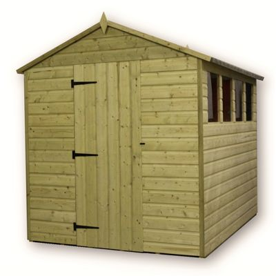 6 x 6 Maldon Premier Pressure Treated T&G Single Door Apex Shed + 3 Windows + Higher Eaves & Ridge Height (6ft x 6ft)
