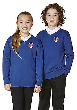 Unisex Embroidered V-Neck Cotton School Jumper with As New Technology - Bright royal blue