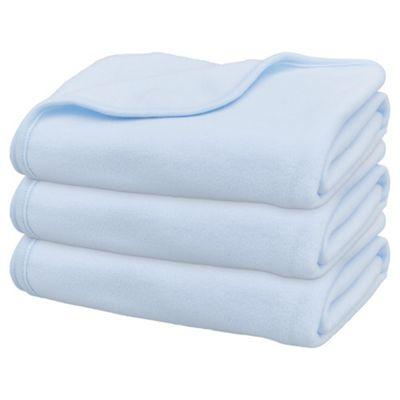 Moses Basket Fleece Blanket, Blue 3 pack