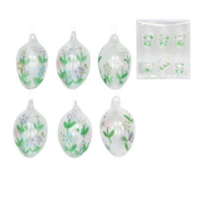 Set Of 6 Glass Easter Egg Decorations