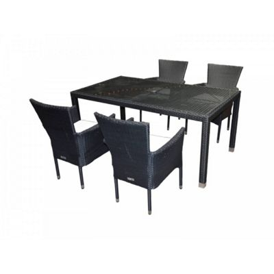 Cambridge 4 Stackable Chairs And Open Leg Rectangular Table Set in Black and Vanilla