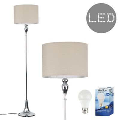 Faulkner 125cm Spindle LED Floor Lamp - Chrome & Beige
