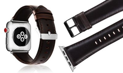 Aquarius Replacement Genuine Leather Strap Band for Apple Smart iWatch 42mm - Dark Brown - R164434