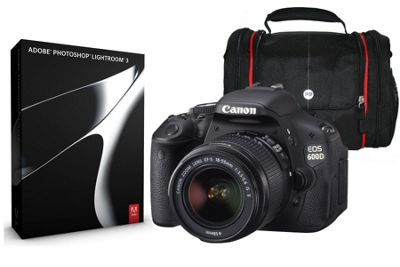 DS Canon EOS 600D SLR Kit 3 inc 18-55mm IS Lens Adobe Lightroom & System Bag