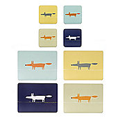 Scion Mr Fox Placemats and Coasters, Blue