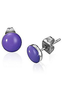 Urban Male Purple Resin & Stainless Steel Stud Earrings 7mm