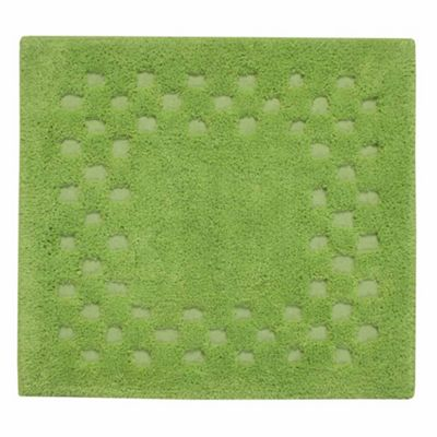 Homescapes Cotton Check Border Fern Green Shower Mat