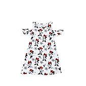 Disney Minnie Mouse Cold Shoulder Dress - White/Multi