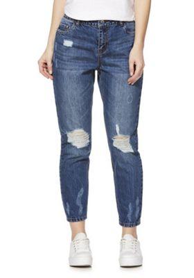 JDY Ripped Knee Ankle Grazer Boyfriend Jeans Blue 32 Waist 32 Leg