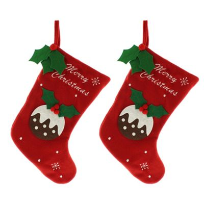 2 x Large 39cm Red Fleece Fabric Christmas Pudding Stocking