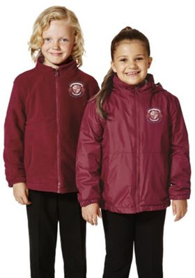 Unisex Embroidered Reversible School Fleece Jacket 6-7 years Claret