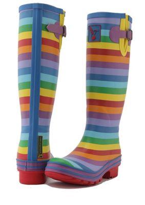 Evercreatures Ladies Festival Wellies Striped Rainbow Pattern - Size 6 (UK)