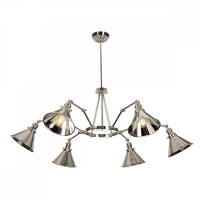 Polished Nickel 6 Arm Chandelier - 6 x 60W E27