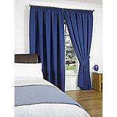 """Dreamscene Pair Thermal Blackout Pencil Pleat Curtains, Blue - 46"""" x 72"""" (116x182cm)"""