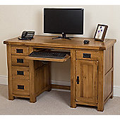 Cotswold Rustic Solid Oak Large Office Computer Desk