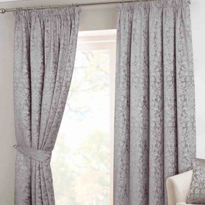 Homescapes Grey Velvet Jacquard Pencil Pleat Lined Curtain Pair, 66 x 54