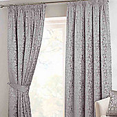 Homescapes Grey Velvet Jacquard Pencil Pleat Lined Curtain Pair, 66 x 54""