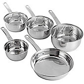 VonShef 5 Piece Stainless Steel Cookware Pan Pot Set with Glass Lids