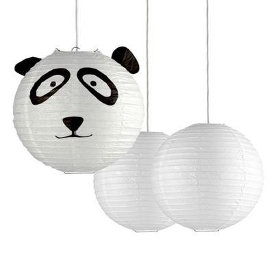Set of 3 Panda Design Paper Lantern Ceiling Shades, Black & White