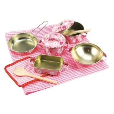 Bigjigs Toys Pink Flower Kitchenware Set