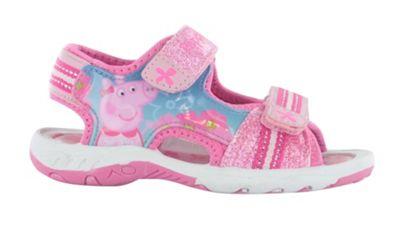 Girls Peppa Pig Pink Glitter Sport Sandal Beach Walking Childrens Shoes UK Size 9