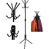 12 Hook Coat / Hat / Scarf Stand. Steel Construction. Black