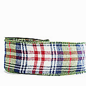"Ribbon Tartan Wired Edge - 2.5"" x 10y - Blue, Green & Red"