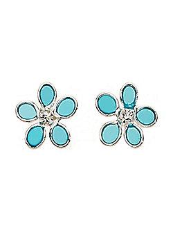 Sterling Silver and Blue Resin Flower Earrings