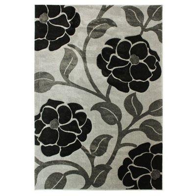 Hand Carved Vine Grey/Black Rug/Runner 80x150cm