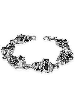 Urban Male Chunky Stainless Steel Skull Head Bracelet