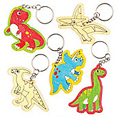 Dinosaur Wooden Keyrings for Children to Colour-in Decorate and Personalise - Creative Craft Set for Kids (Pack of 6)