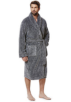 F&F Marl Super Soft Dressing Gown - Black
