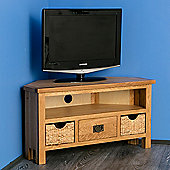 Surrey Oak Corner TV Stand with Baskets - Waxed Finish