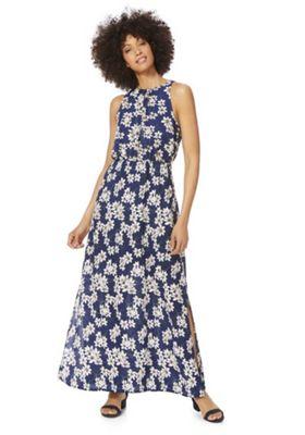 Mela London Floral High Neck Maxi Dress Blue Multi 8