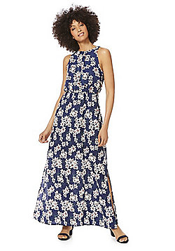 Mela London Floral High Neck Maxi Dress - Blue Multi