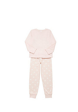 F&F Polka Dot Fleece Pyjamas - Pink
