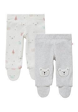 F&F 2 Pack of Polar Bear Footed Leggings - Grey & Cream