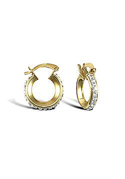 Ladies 9ct Yellow Gold White Round Crystal Eternity 3mm Hoop Earrings 13mm
