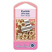 Hemline 7mm Gold Small Eyelet Kit With Tool (20 Pieces)