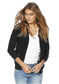F&F Textured Front Zip-Through Cardigan - Black