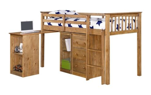 Rustic Retreat Milo Mid Sleeper Sleep Station Bunk Bed - Antique Waxed Pine