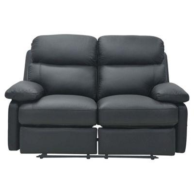 Cordova Leather Small Recliner Sofa Black