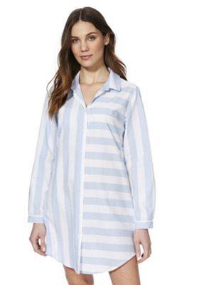 F&F Striped Nightshirt Blue 8-10