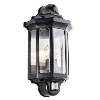 Traditional PIR half lantern IP44 60W wall satin black paint